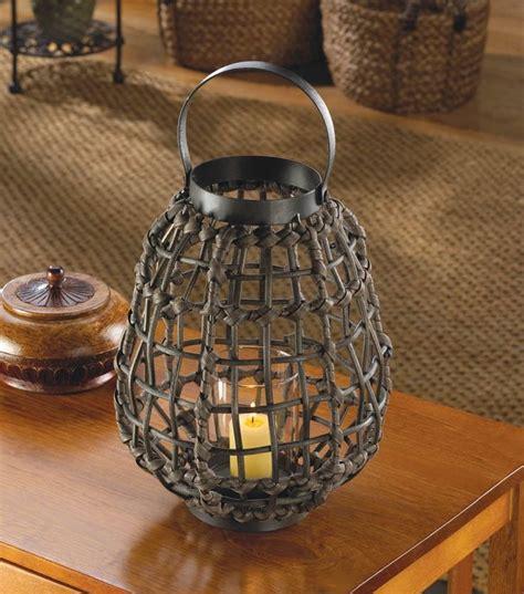 brown rattan  jungle candle holder lantern african safari home decor safari home decor