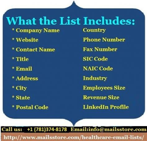 mailss store healthcare mailing list email list email