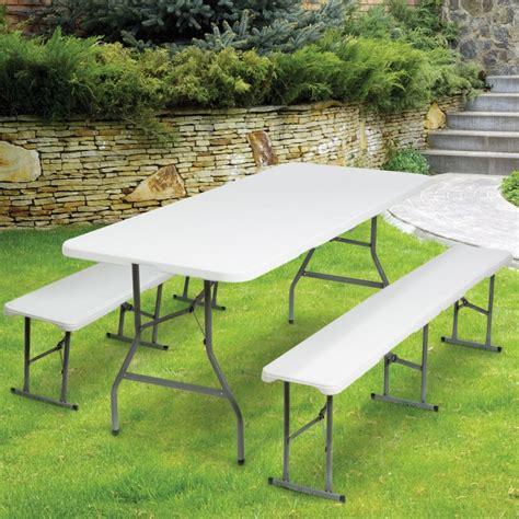 Table Pliante Portable 180 Cm Et 2 Bancs Pliables Pour