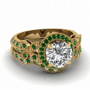 Yellow gold round white diamond engagement wedding ring for Emerald green wedding ring