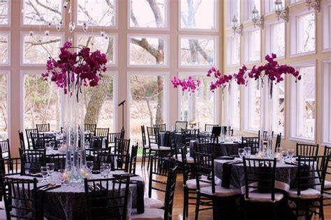 Black Purple Silver Centerpieces Indoor Reception Winter