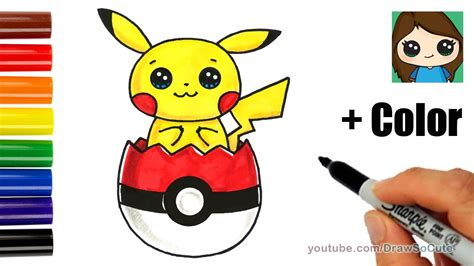 draw pikachu  pokeball easter egg  coloring