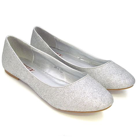 flat silver shoes womens flat pumps glitter ballet ballerina