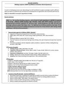 welding inspector resume exle welding inspector resume resumes design