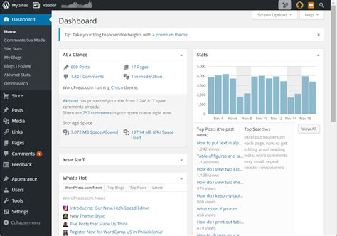 Wordpress Dashboard full dashboard  wordpresscom 1051 x 737 · png