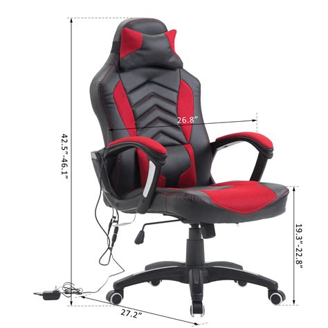 homcom ergonomic office chair heated vibrating