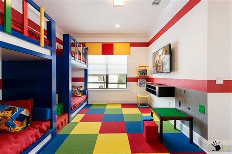 Fancy Childrens Room In Lego Theme With Blue Bunk Beds And