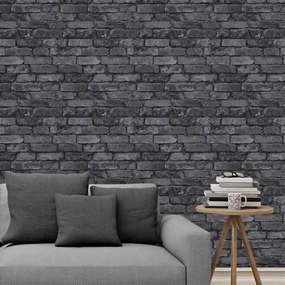 Brick Wall Grey Effect Feature Bedroom Rustic