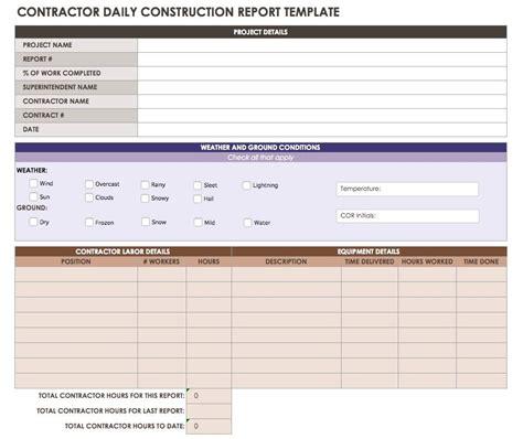 Construction Subcontractor Daily Report Template by Construction Daily Reports Templates Or Software Smartsheet