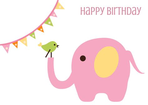 Greeting Card Happy Birthday Pink Elephant