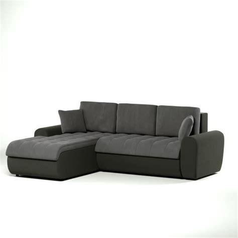 canapé d angle gris et noir cloe canapé d 39 angle gauche convertible en simili et tissu 4 places 250x57 190x78 cm gris et