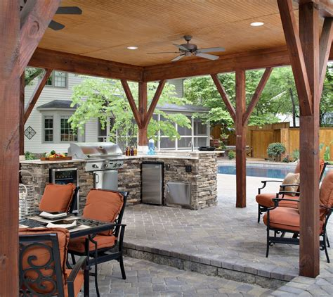 Outside Patio Designs by Custom Outdoor Kitchen Open Porch Archadeck