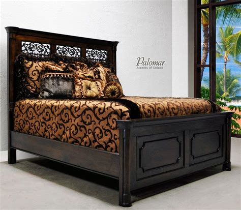 tuscan style bed  high headboard rustic mediterranean