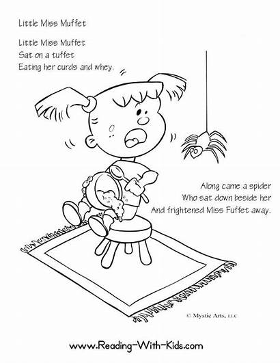 Muffet Miss Coloring Nursery Rhymes Pages Rhyme
