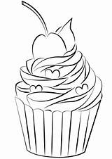 Cupcake Coloring Pages Cherry Printable Cupcakes Kawaii Categories sketch template