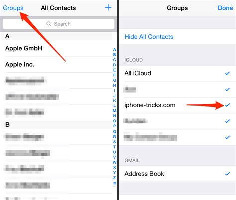 contact groups contacts iphone hide missing lost app