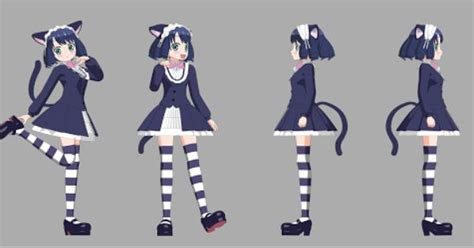 anime cat rigged girl side  front view anime
