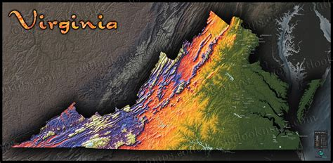 virginia topography map physical landscape  bright colors
