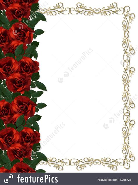 red roses border wedding invitation illustration