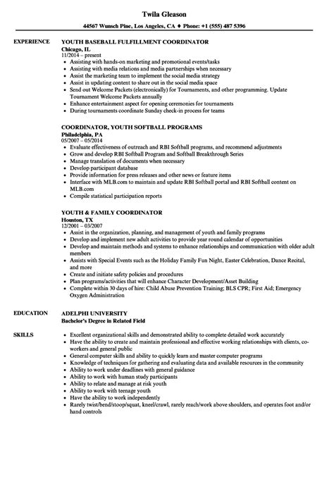 youth services coordinator resume youth coordinator resume