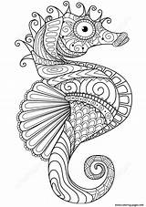 Coloring Horse Adults Sea Zentangle Pages Printable sketch template