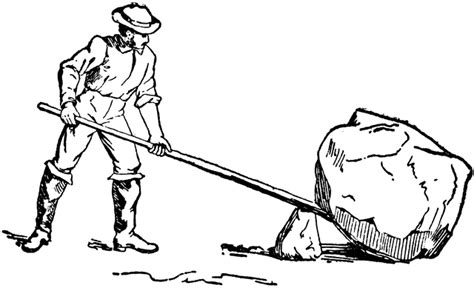Man Using Lever And Fulcrum To Lift Rock