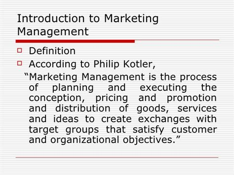Explain Marketing by Introduction To Marketing Management
