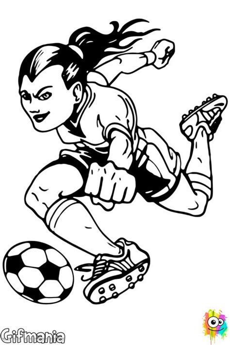 female soccer player soccer football drawing coloring