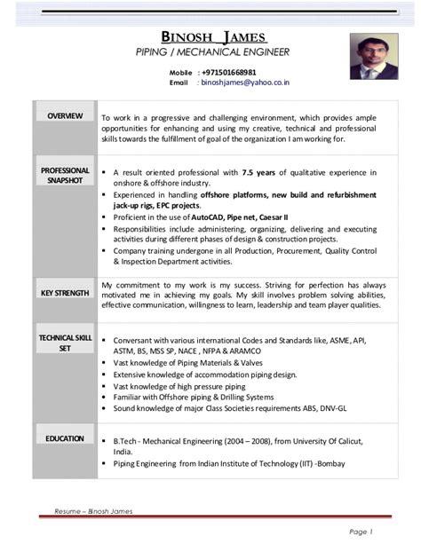 resume binosh piping engineer