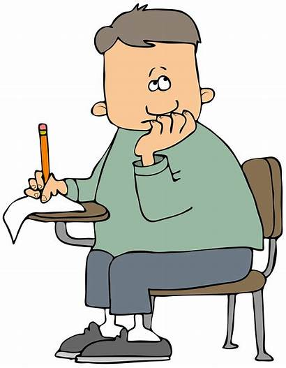 Desk Clipart Student Test Boy Taking Exam