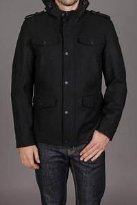 Black Rivet 6 Pocket Mid Length Wool Coat With Hood