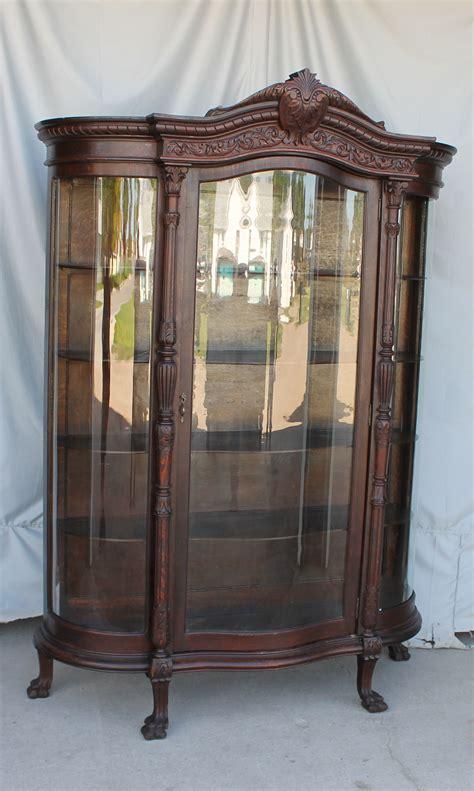 antique curved glass curio cabinet value bargain s antiques 187 archive antique large oak