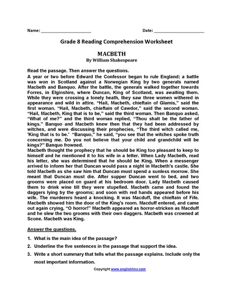 reading worksheets eighth grade reading worksheets