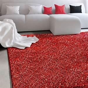 Tapis Rouge Salon : tapis de salon rouge par casa pura doux velour shaggy 7 tailles ~ Teatrodelosmanantiales.com Idées de Décoration