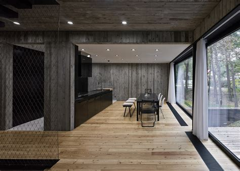 polish house  wood textured concrete interior