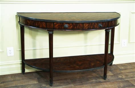 mahogany console table bowfront mahogany console table with brass accents 3947