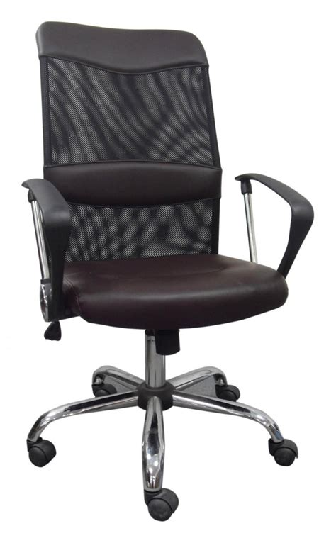 modern mesh computer office chair with brown leather seat