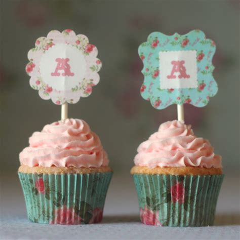 shabby chic cupcake shabby toppers