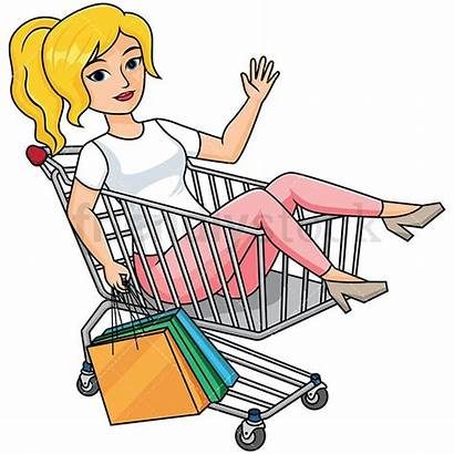 Shopping Cart Clipart Bags Woman Holding Inside