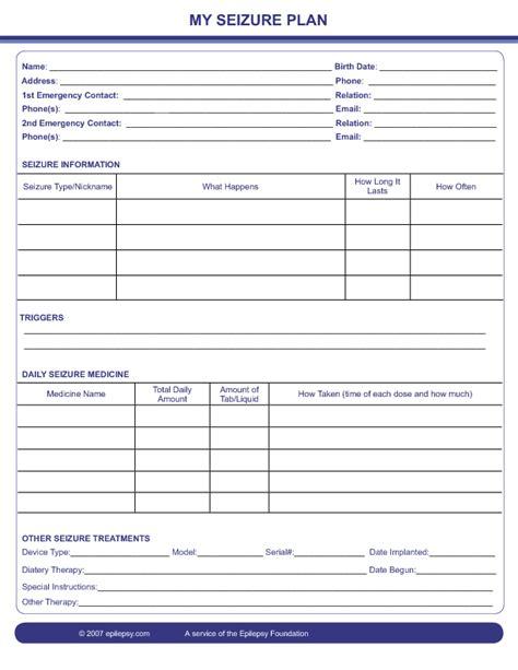 seizure plan template seizure information forms epilepsy foundation