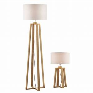 Wooden table floor lamp double insulated for Wood floor lamp nz