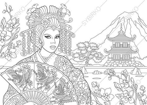 japanese geisha coloring pages coloring book pages  kids