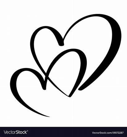 Heart Calligraphy Vector Lovers Handmade Vectors Royalty