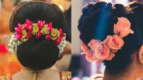 beautiful flower bun hairstyleengagement hairstyle