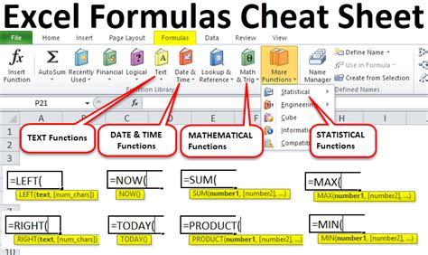 excel formulas cheat sheet exles use of excel formulas