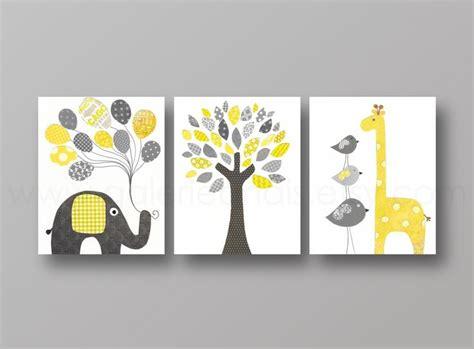 deco chambre d enfants lot de 3 illustrations pour chambre d 39 enfant et bebe jaune