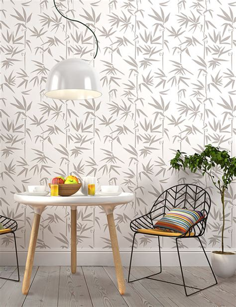 bamboo wall stencil decorative scandinavian wall stencil for