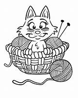 Coloring Yarn Pages Kitten Printable Cat Cartoon Knitting Cats Kittens Colouring Kitty Needles Wool Ball Kleurplaten Printables Poes Warrior Activity sketch template