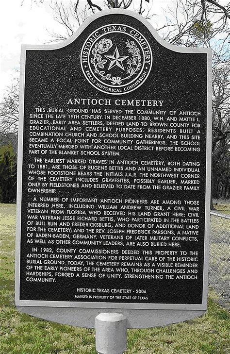 Antioch Historical Marker in Brown County Texas