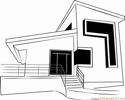Coloring Modern Cottage Pages Pdf Coloringpages101 Template